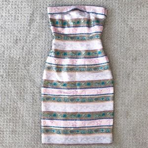 Collette Dinnigan Sleeveless Dress Metallic Pastel